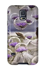 6148130K81281507 S5 Scratch-proof Protection Case Cover For Galaxy/ Hot Girl With Purple Flowers Phone Case