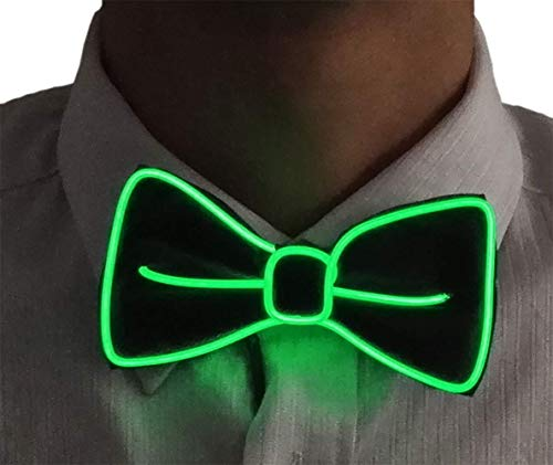 Mendy LED Light Up Costume Bow Tie Accessory for Halloween Christmas Rave party New Years Gift (Green) -