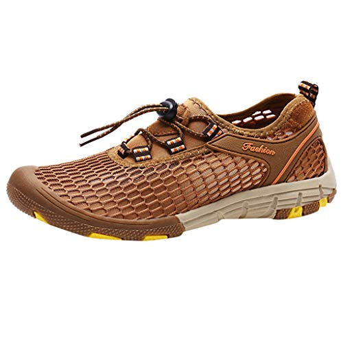 JUSTWIN Summer Men's Flat Water Shoes Beach Swim Drawstring Creek Diving Shoes Outdoor Mountaineering Running Sneaker Brown