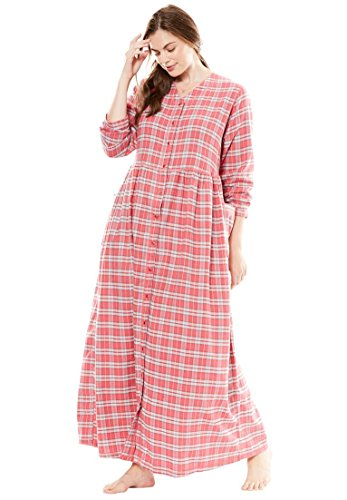 Long Flannel Nightgown (Only Necessities Women's Plus Size Flannel Snap-Front Lounger Begonia Plaid,3X)