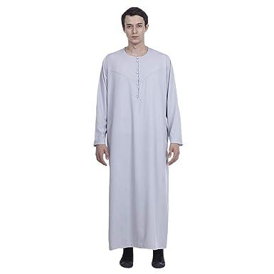 025e8b4ca28 Amazon.com: Men's Islamic Thobe Long Sleeves Arab Muslim Wear Robe Calf  Length Clothes with Button S-XXXL: Clothing