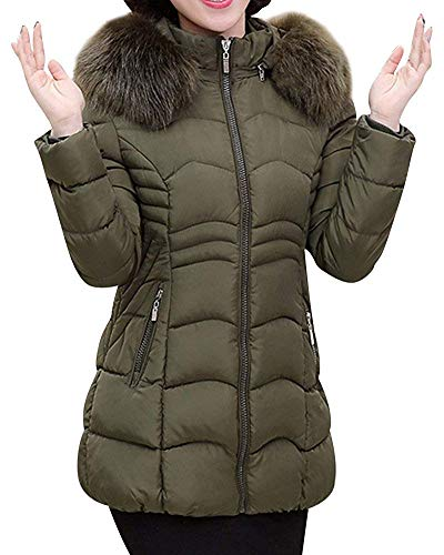 D'hiver Fourrure En Capuche coloré Avec Xl Chaud Fausse Manteaux Verte Armée Dames Taille Oudan Outwear Manteau vn5q5g80