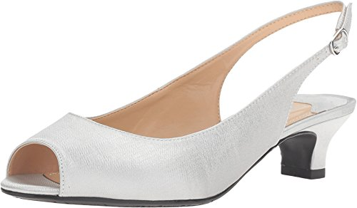 J. Renee Women's Jenvey Low Heel Slingback,Silver Satin,US 7 WW