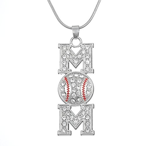 Fashion and Exqusite Crystal Baseball MOM Pendant Necklace for Men and Women Gifts (Light White) - Logo Baseball Pendant