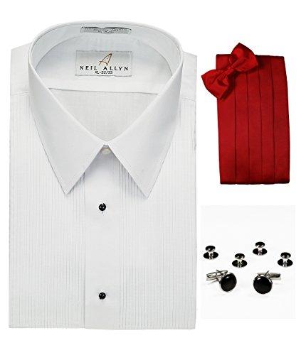 do Shirt, Red Cummerbund, Bow-Tie, Cuff Links & Studs Set (Stud Strap Tie)