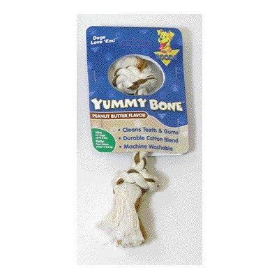 Aspen Pet X-Small 2 Knot Yummy Rope Bone, Peanut Butter Flavored