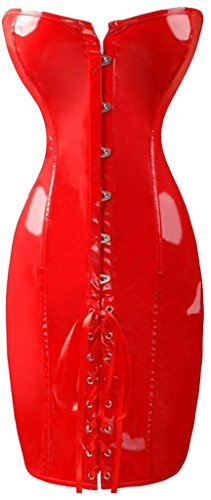 Alivila.Y Fashion Women's Shiny PVC Lace Up Corset Dress 2041-Red-XL (Patent Lace Up Bustier)