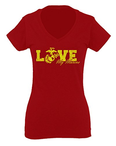 Love My Marine USMC United States Of America USA American Mother Gift For Women V Neck Fitted T Shirt (Red, Medium)