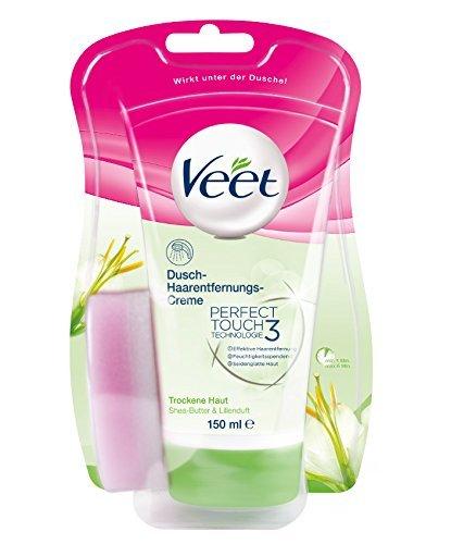 Veet Dusch-Haarentfernungs-Creme für trockene Haut mit Shea-Butter & Lilienduft, 1er Pack (1 x 150 ml)