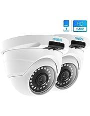 REOLINK Telecamera di Sicurezza IP Poe 5MP Super HD 2560x1920 con Supporto Audio per Esterni e Interni della Casa IR con Visione Notturna e Sensore di Movimento RLC-420-5MP (Pack di 2)
