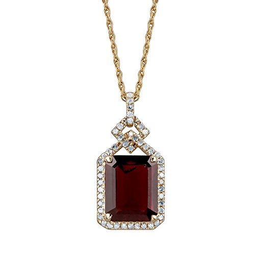 10k Yellow Gold Emerald-cut Garnet and Diamond Halo Necklace by Instagems