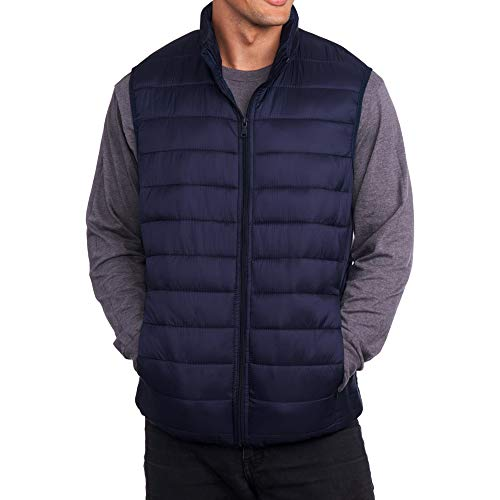 alpine swiss Clark Mens Lightweight Down Alternative Vest Jacket Navy Medium ()