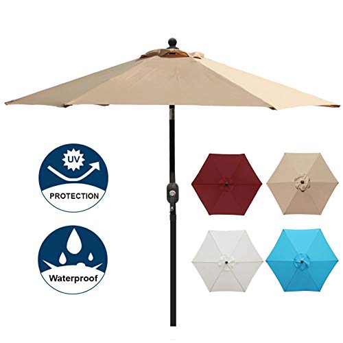Blissun 7.5 ft Patio Umbrella, Yard Umbrella Push Button Tilt Crank (Tan) ()