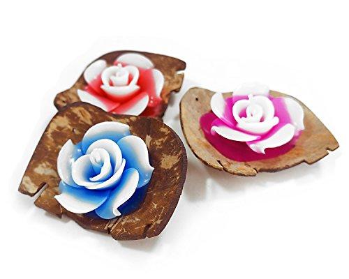 Mongkol Sovenir Shop Tealight Candles Flower Shape Coconut Shell Holder Size 4 inch Mix Color 3 per Pack (Rose)