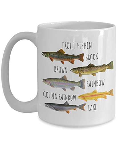 Trout Fishing Mug, With Trout Fish Types, Brook trout, Brown Trout, Golden Rainbow Trout, Lake ()