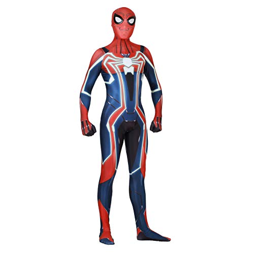 Spider Man PS4 Insomniac Spiderman Costume 3D Print Spandex Halloween Zentai Suit Adult/Kids (Adult-XL, Velocity Suit)