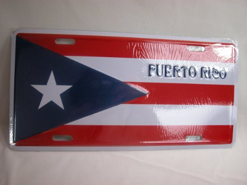 - Mini Bear Gems Puerto Rico Car Decor License Tag Metal Plate - Puerto Rico Flag