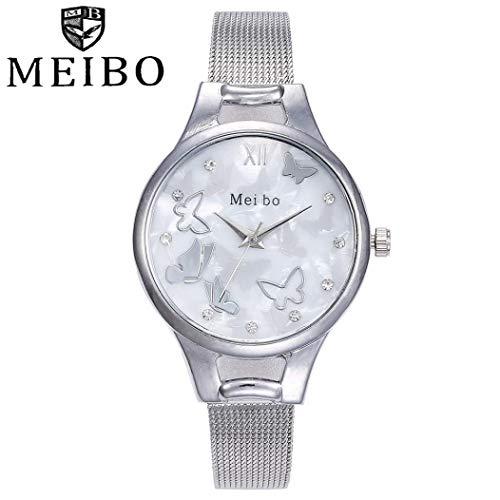 (DEESEE(TM) MEIBO Women's Casual Quartz Stainless Steel Butterfly Watch Analog Wrist Watch (Silver))