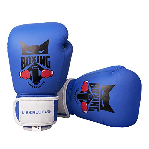 Liberlupus Kids Boxing Gloves, Training Boxing Gloves for Kids Age 3-15, Protective Youth Boxing Gloves with Multiple Color & Size (Blue, 4 oz)