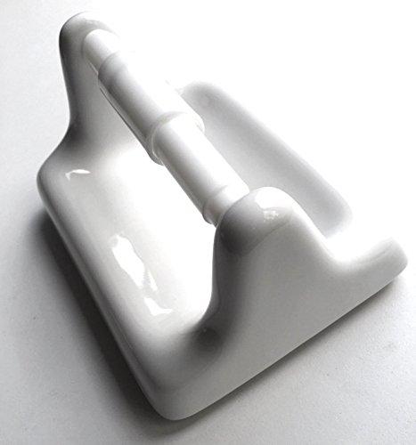 Squarefeet Depot Toilet Paper Tissue Holder BA777 White Glazed Ceramic with Roller Bath Accessory