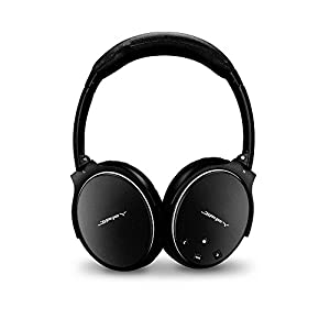 Wireless Noise Cancelling Headphones ANC Bluetooth Headset Over Ear Built in Microphone with Comfortable Protein Ear-pads for Airplane Travel Portable Size By Jiffy