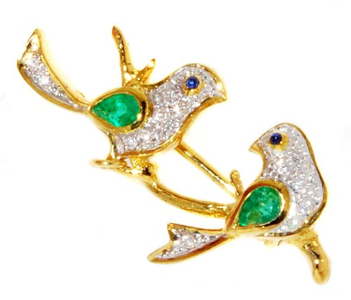Diamond Emerald Couple birds Brooch/Pin 18K Yellow Gold [I_002]