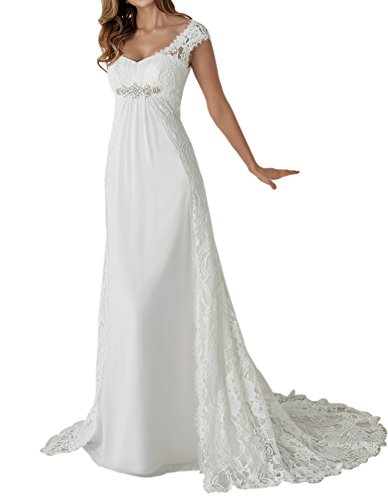 (Empire Maternity Two Pieces Cap Sleeves Bridal Gown Wedding Dress Bride Ivory Size 4)
