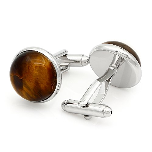(Kemstone Silver Tone Brown Agate Stone Cufflinks Mens Jewelry)