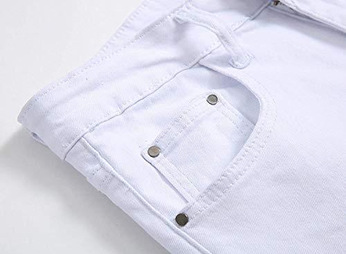 Pantaloni Abbigliamento Bianca Elasticizzati Casual Bassa Uomo Uomo Tinta Da A Jeans Unita Vita Moda Alta 0rwq0a
