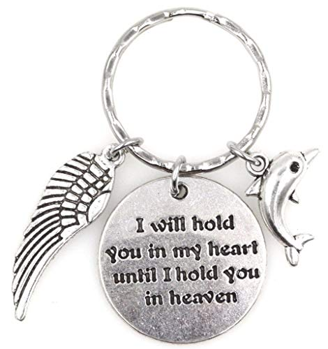 I Will Hold You in My Heart Until I Hold You in Heaven Angel Wing Dolphin Keychain 115C ()