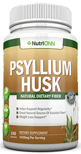 PSYLLIUM Husk Capsules – 1450mg Per Serving – 240 Capsules – Premium Psyllium Fiber Supplement – Great for Constipation, Digestion and Weight Loss – 100% Natural Soluble Fiber