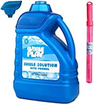 BubblePlay 1 Pack 64-Ounce Bubble Solution - Free Big Bubble Wand & Easy Pour Funnel for Fun Bubble Machines, Refills, Weddi