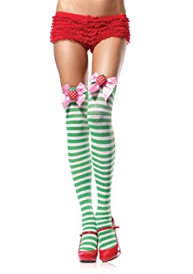 Leg Avenue Women's Striped Thigh-Highs with Strawberry
