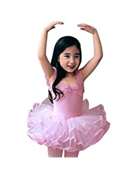 CM-CG Little Girls' Short Sleeve Tiered Tutu Ballet Party Dresses 2-3Y/M Asian-Pink