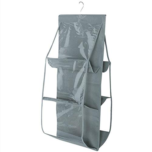 OxbOw 6 Pocket Large Clear Purse Handbag Hanging Storage Bag Organizer Closet Tidy Closet Organizer Wardrobe Rack…
