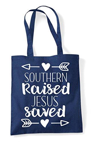 Saved Tote Shopper Raised Bag Statement Southern Navy Jesus wqngHEHZ