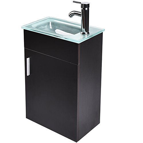ELECWISH 16.5 Inch Wall-Mounted Bathroom Vanity Set Black, Clear Frosted Tempered Glass Counter Top Sink with Chrome Faucet and Pop Up Drain with P-Trap Drainage(Frosted)