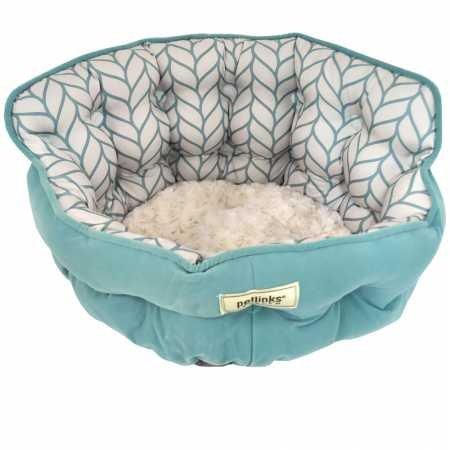 Petlinks Purrr Heaven Therapeutic Memory Foam Cat Bed, Surf Leaf