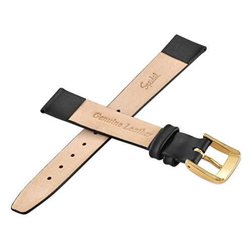 Speidel Genuine Leather Watch Band Black Ladie's Classic Calf Skin Replacement Strap,14mm, Stainless Steel Metal Buckle Clasp, Watchband Fits Most Watch Brand by Speidel (Image #2)