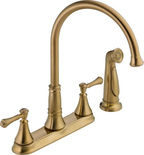 Delta Faucet 2497LF-CZ Cassidy, Two Handle Kitchen Faucet with Spray, Champagne Bronze