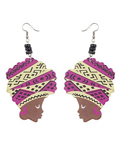 [Wooden Colored Turban African Woman Head and Black Bead Dangle Hook Earrings - Purple/Beige] (Purple Bead Earrings)