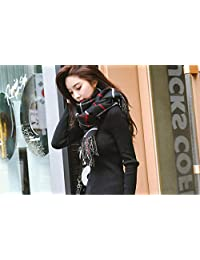 nwn Scarf Female Winter Thick Section Korean Version of The Wild Long Paragraph Fresh Knitted Lattice Double Shawl (Color : B)