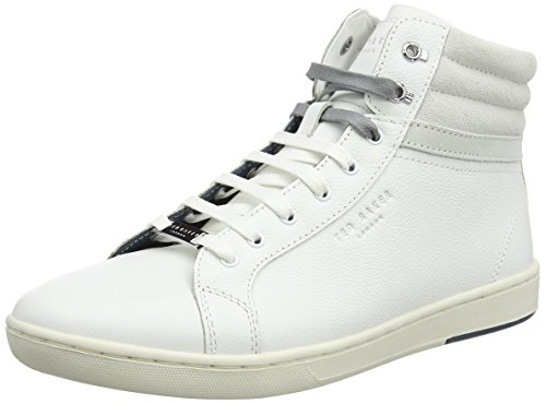 Ted Baker Mens Mykka Leather Trainers, Sneaker a Collo Alto Uomo Bianco (White)