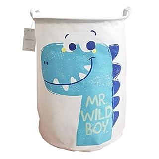 LEELI Laundry Hamper with Handles-Collapsible Canvas Basket for Storage Bin,Kids Room,Home Organizer,Nursery Storage,Baby Hamper,19.7×15.7 (Blue Dinosaur)