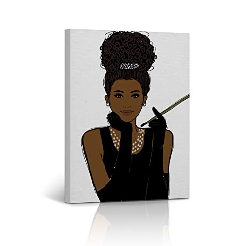 Buy4Wall Audrey Hepburn Style African American Girl Wall Art Canvas Print Digital Paint Decorative Art Home Decor Artwork Stretched and Framed - Ready to Hang -%100 Handmade in The USA ()