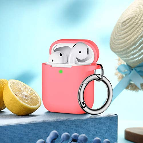 Airpods Case Cover With Silver Keychain Full Protective Silicone