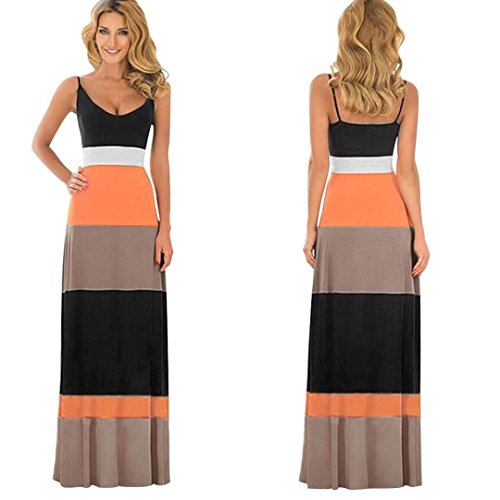 Tenworld Women Boho Spaghetti Strap Splicing Stripes Long Maxi Dress Party Dress (XL = US 10)