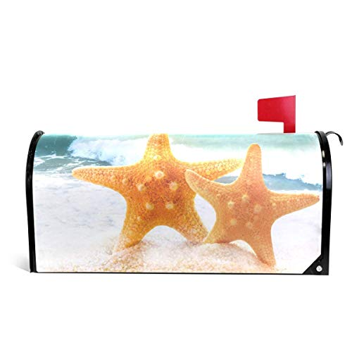 WOOR Starfish On Sandy Beach Magnetic Mailbox Cover Standard ()