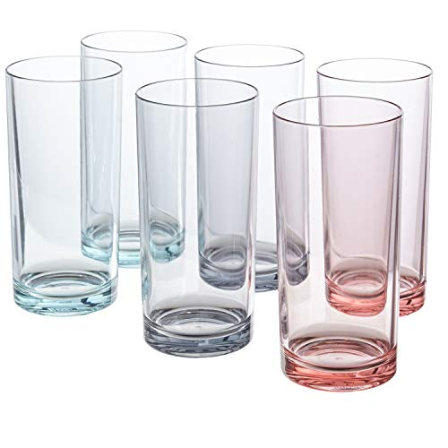 (Classic 16-ounce Premium Quality Plastic Water Tumbler | Coastal Mist set of 6)