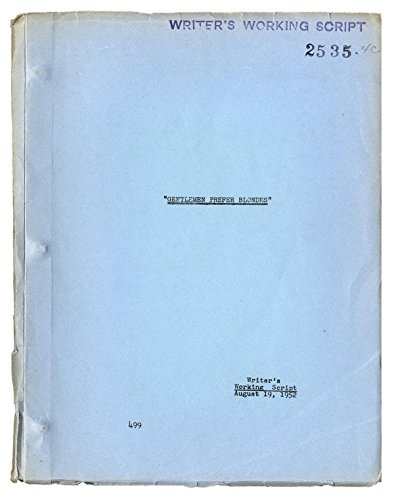 GENTLEMEN PREFER BLONDES (1953) Original writer's working script by Charles Lederer, Aug. 19, 1952